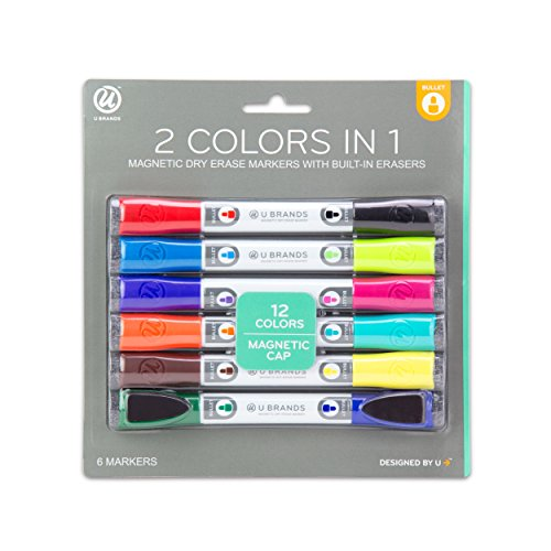 u-brands-low-odor-magnetic-double-ended-dry-erase-markers-with-erasers-bullet-tip-assorted-colors-6-