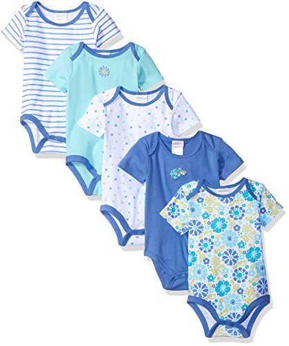 ABSORBA Girls' 5 Pack Body Suits, Periwinkle Blue Floral, 6/9