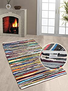 Homescapes - 100% Recycled Cotton Chindi Rug - 90 x 150 cm - 3 ft x 5 ft - Multi Coloured Stripes on White Base from Homescapes