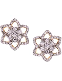 Gehnamart Yellow Gold Plated Cubic Zirconia And American Diamond Floral Designer Stud Earring