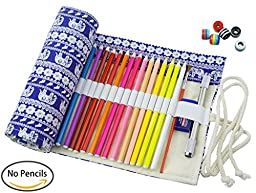 CreooGo Canvas Pencil Wrap, Pencils Roll Pouch Case Hold For 48 Colored Pencils ( Pencils are not included )-Retro elephant,48 Holes