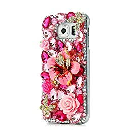 Samsung Galaxy S6 Edge Plus Bling Case - Fairy Art Luxury 3D Sparkle Series Big Flowers Rose Butterfly Crystal Design Back Cover with Soft Wallet Purse Red Cloth Pouch - Red