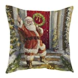 Decorie Retro Xmas Design Santa Claus Cushion Cover for Sofa Bed Home Decor (Style B)