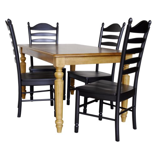 Carolina Classic English Pine 5 piece Whitman Dining Table and 4 Antique BlackChairs