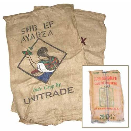 PKG(2) 28 Wide Burlap Sacks. Great for Decoration. Coffee Company Logo
