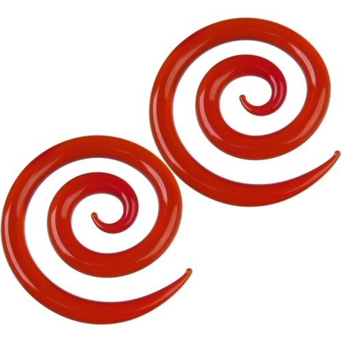 Pair of Glass Super Spirals: 2g Ruby
