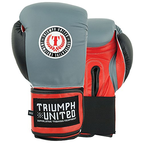 Triumph United Death Adder Velcro Sparring Gloves (Gray/Red, 14 oz) (Triumph United Gloves compare prices)