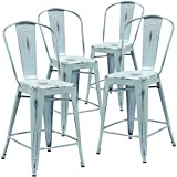 Flash Furniture High Distressed Dream Metal Indoor Counter Height Stool (4 Pack), 24, Blue