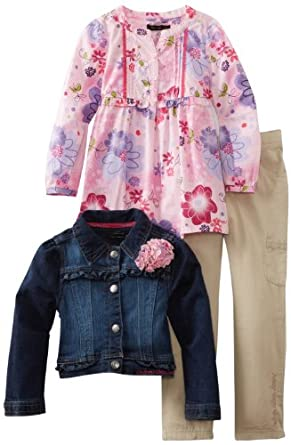 Calvin Klein Girls 2-6X Jacket With Pink Printed Top and Cargo Pant, Denim, 4
