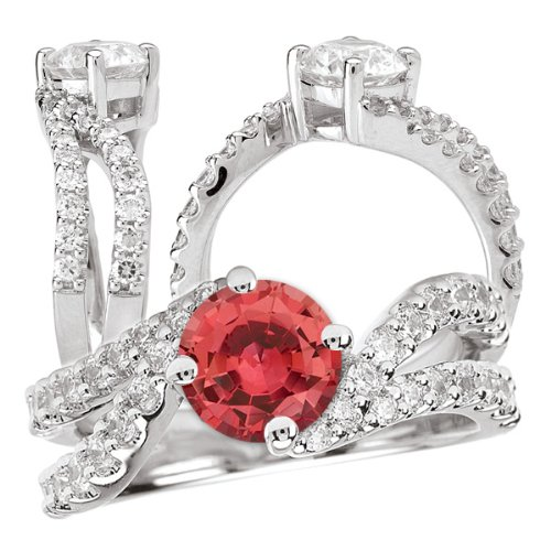 18K Elite Collection Lab-Created 6.5Mm Round Padparadscha Engagement Ring With Twisted Diamond Band