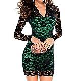 Richio Women's V-Neck Long sleeve Lace Long Sleeves Evening Midi Dress