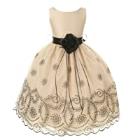 Kids Dream Champagne Floral Embroidered Flower Girl Dress