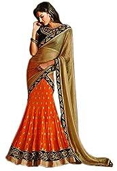 Try n get's Orange Color Georgette Designer lehenga