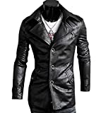 Sexy Men's Clothes Windbreaker Trench Coat PU Leather Coat Jacket Outwear by NYC Leather Factory Outlet