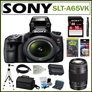 Sony Alpha SLT-A65V/K 24.3MP Digital SLR with Translucent Mirror Technology with 18-55mm Lens + Sony 16GB SDHC + Sony 75-300 Lens + Sony Case + Mini HDMI Cable + Replacement Battery Pack + Accessory Kit
