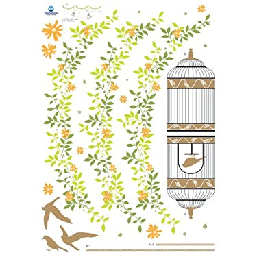 Leaf Flower Banner with Hanging Bird Cages - Removable Home Decoration Wall Sticker Decal