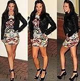 Womens Ladies quality Tulisa Multi Colour Aztec Print Bodycon Mini Dress 8-14