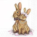 Eddie in Love Kaninchen Hochzeit Braut und Br/äutigam Luncheon Papier Tisch Servietten 20/in einer Packung 33/cm quadratisch