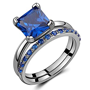 2.50 Ct Black Sterling Silver Round & Princess-Cut Created Blue Sapphire Bridal Engagement Ring Set Size 5