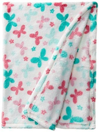 Lovespun Baby-Girls Newborn Butterfly Print Plush Blanket - 1