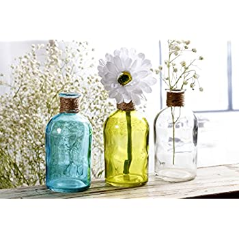 V-More Small Vintage Glass Bottle Flower Bud Vase with Jute Rope, Multicolored, 5.3-inch Tall, For Home Decor, Wedding, Party, Celebration【Set of 6 (2 Light Blue + 2 Yellow + 2 Clear)】