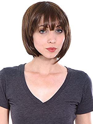 New black brown Short Straight women synthetic hair wig with wig cap