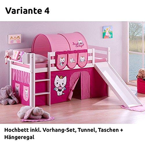 Hochbett Spielbett JELLE Angel Cat Sugar mit Rutsche und Vorhang, weiß, Variante 4 online kaufen