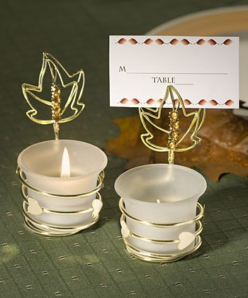 Fall Themed Place Card Holder/Candle Wedding Favors, 16
