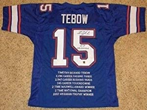 Tim Tebow Signed Jersey - #15 Custom Stat Rare - Autographed College Jerseys