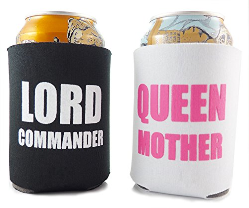 New funny beer koozie set his and hers lord commander for Bride kitchen queen set