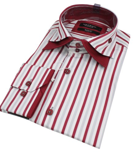 Mens Stripe Italian Design Double Collar Red Shirt Slim Fit Smart or Casual 100% Cotton