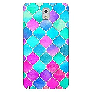 Jugaaduu Pink Blue Moroccan Tiles Pattern Back Cover Case For Samsung Galaxy Note 3 N9000