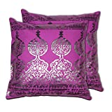 House This Darbaar Foli Print Purple Set Of 2 Cushion Covers- 16 X 16