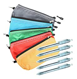 Multi-purpose storage pouch bag, assorted colors. 5 pack Including 5 Blue Recycled Pens