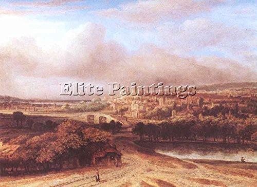 koninck-philips-village-on-a-hill-artiste-tableau-huile-toile-peinture-a-la-main-90x120cm-haute-qual