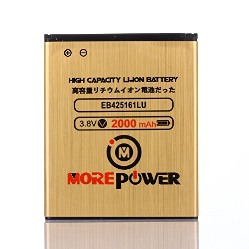 MOREPOWER Samsung Galaxy Exhibit SGH-T599N Battery EB425161LU High Capacity & Long Lasting 2000 mAh For Samsung Galaxy Exhibit SGH-T599N / Samsung Galaxy S3 Mini GT-I8190 / Samsung Galaxy Ace 2 GT-I8160 / Samsung Galaxy Exhibit SGH-T599 (Samsung I8160 compare prices)