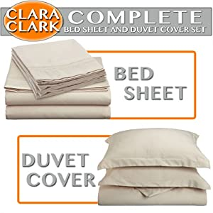 Clara Clark Complete 7-Piece Bed Sheet and Duvet Cover Set, Queen, Cream