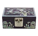 Lila Schmuckkästchen Schmuckkasten Schmuck Vintage Aus Holz und Permutt, Mit Asiatischer Handgeschnitzten Blumen Design -