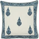 Throw-Pillow-Covers Asian-Influence Indian-Style Cotton Block Print Square 24x24 Inches
