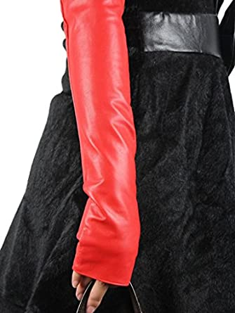 HINY Women's Red 100% Leather Fingerless Long Evening Dress Winter