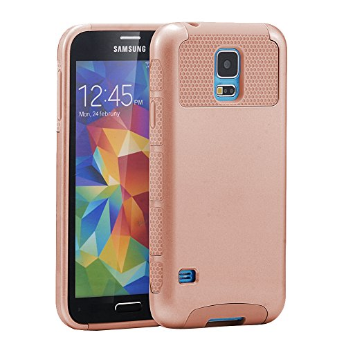 Galaxy S5 Case, S5 Case, BENTOBEN Slim Dual Layer Hybrid Hard PC Shell & Flexible TPU Shock-Absorption Protective Case Cover for Samsung Galaxy S5 SV G900P G900R S902L G900A G900T G900V, Rose Gold (Galaxy S5 Protective Case Gold compare prices)