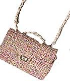 (トリニウサ) TORINIUSA ターンロック開閉 ツイード チェーンバッグ ショルダーバッグ ハンドバッグ 斜め掛け 上品 かわいい レディース ガールズ パーティーデート 全2色 ピンク ブラック 25×17×9 (ピンク)