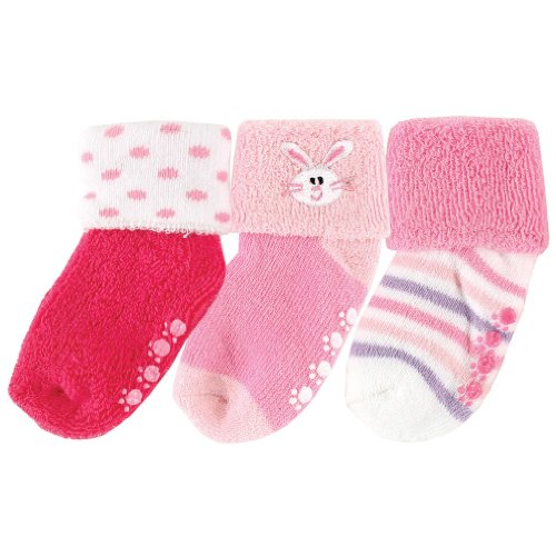 3-Pack Beary Cute Non-Skid , Pink Bunny, 6-18 front-1053620