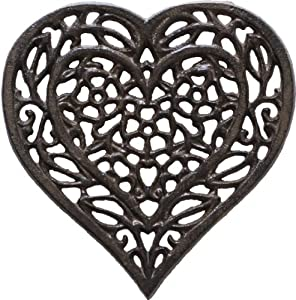 Cast Iron Trivet - Heart (Unique, Hand-crafted, Recycled; for Kitchen and Cooking) by Comfify