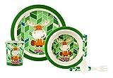 Nuby ID5498GREEN - Set alimentaci�n con 1 plato, 1 bowl, 1 vaso, 1 tenedor y 1 cuchara, color verde