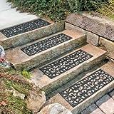 "30"" W Set of 4 Elegant Outdoor Black Scrollwork Rubber Non Slip Stair Treads Mat"