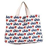 CLICK[クリック] cher トートバッグ レディース キャンバス トート エコバッグ バッグ モデル愛用 白 Lサイズ