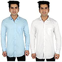 Nimegh Sky Blue, White Color Cotton Casual Slim fit Shirt For men's (Pack of 2)