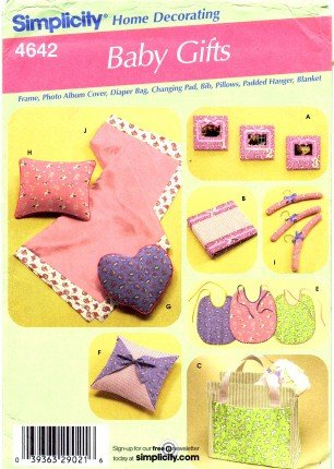 Simplicity Sewing Pattern 4642 - Use To Make - Baby Gift Items - Frame, Bib, Changing Pad, Pillow, Hanger, Blanket