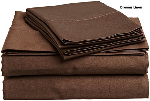 Sleepwell Bedding Luxury 300 Thread-Count 100% Egyptian Cotton (+18 Inch) Pocket Depth, 6pcs Twin Sheet Set Chocolate Solid